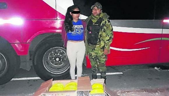 Adolescente de 17 años es sorprendida al intentar transportar 17 kilos de marihuana a Lima