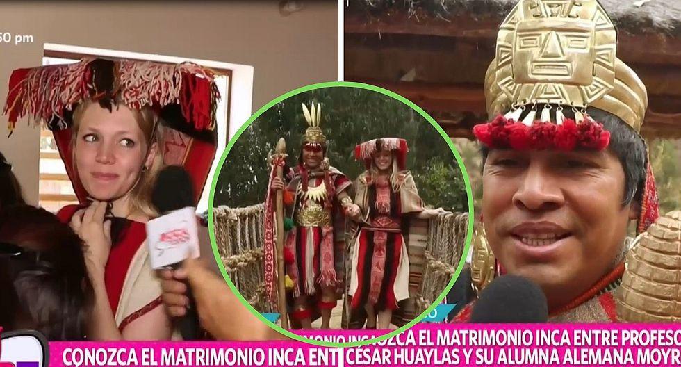 Profesor cusqueño se casa con su alumna alemana en boda inca | VÍDEO