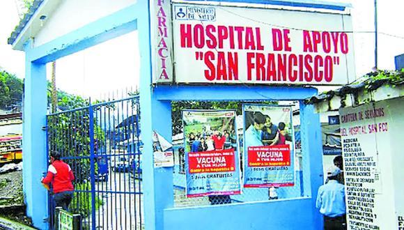 La septuagenaria falleció en el hospital de San Francisco, en el Vraem.