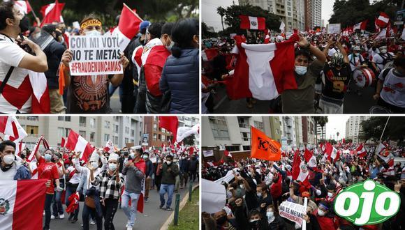 Ciudadanos marchan en Lima para defender sus votos a favor de Keiko Fujimori. Foto: (GEC).