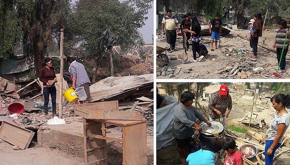 Ñaña: Madres damnificadas celebran su día removiendo los escombros de sus casas