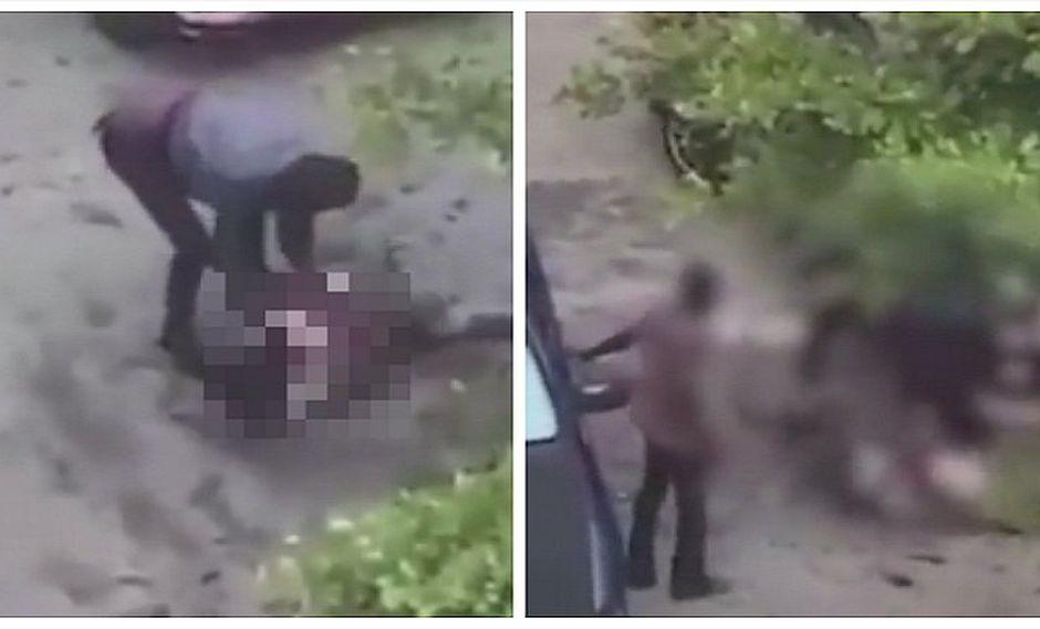 Cámaras captan ataque a mujer con un hacha por parte de dos hombres (FOTOS)