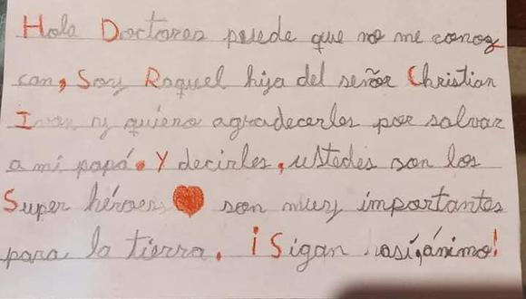 Piura: niña escribe conmovedora carta de agradecimiento a doctores por salvar la vida de su papá (Foto: hospital nuestra señor de las Mercedes)