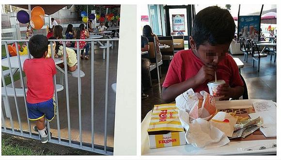 Jovencita invitó a comer a niño ambulante pero reacción de conocido fast food indigna redes sociales