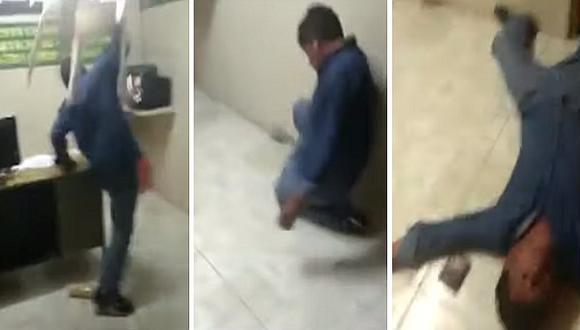 Sujeto inventa desmayo luego de causar destrozos en comisaría de Arequipa (VIDEO)
