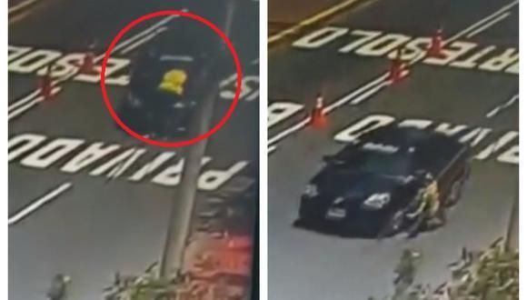 El conductor del vehículo atropelló y arrastró por media cuadra al inspector para evitar ser multado porque prestaba servicio informal de taxi en Miraflores. (Captura: América Noticias)