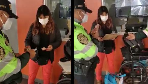 Mujer se mostró agradecida con la Policía. (Captura de video PNP)