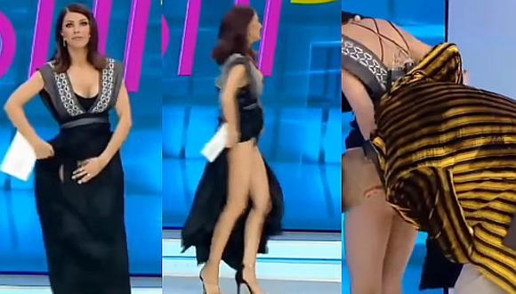 Youtube: presentadora de TV muestra más de la cuenta por supuesta araña en su vestido (VIDEO)