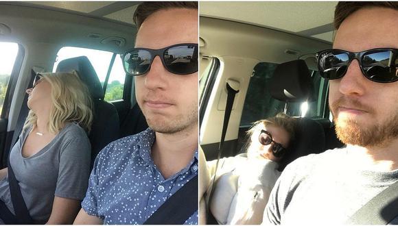 Hombre se sacó varias selfies con su mujer durmiendo en el auto [VIDEO]