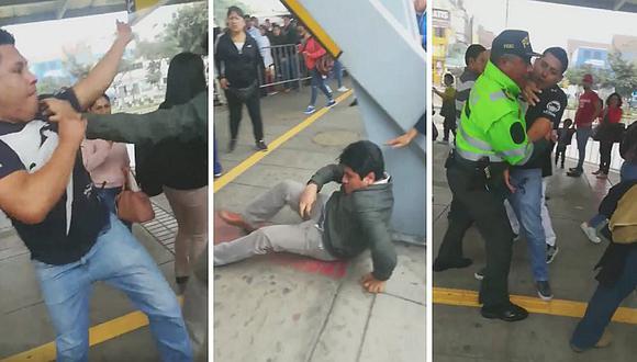 Pasajeros se agarran a golpes en cola del Metropolitano en Naranjal (VIDEO)