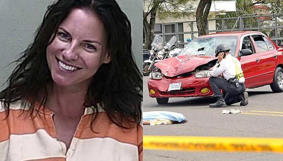Mujer ebria mata a una anciana y se ríe cuando le toman la foto al ser detenida