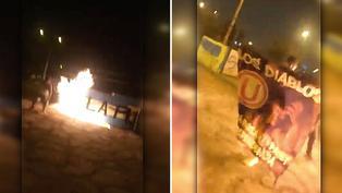 Hinchas de Universitario de Deportes queman pintas de Sporting Cristal