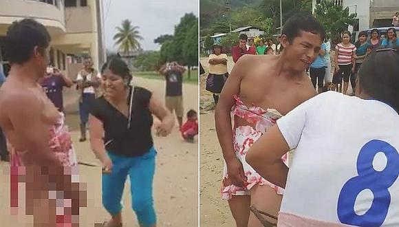 Satipo: comuneros atraparon a sujeto acusado de intento de violación y su víctima lo azotó (VIDEOS)
