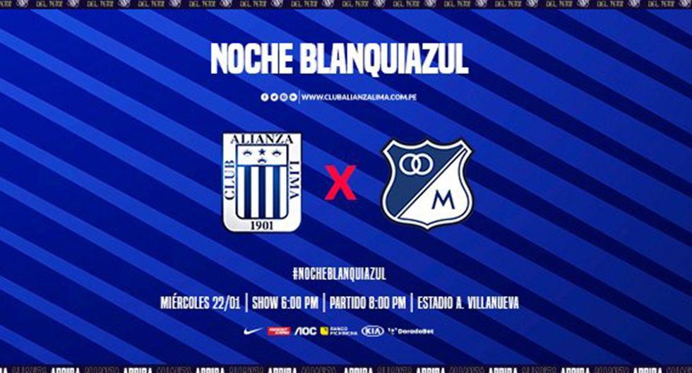 Alianza Lima enfrentará a Millonarios por la Noche Blanquiazul 2020