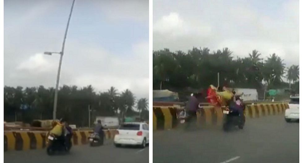 Niña que viajaba en moto se salva de morir tras chocar contra otro vehículo (VIDEO)