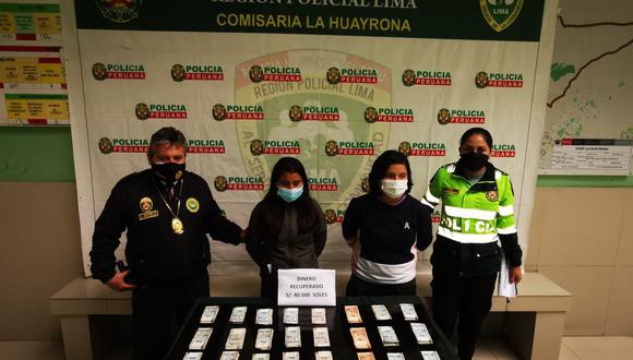 Las dos presuntas peperas fueron intervenidas por agentes de la comisaría de La Huayrona. (Foto:PNP)