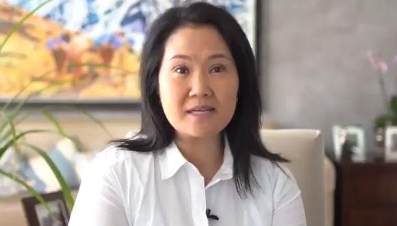 """""""Puedo asegurarles que con ustedes, con Alberto Fujimori y el gran equipo de Fuerza Popular vamos a enfrentar con éxito el gran reto"""", indicó Keiko Fujimori. (Foto: Captura de video)"""