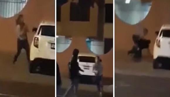 Mujer en Trujillo agarra a golpes a su pareja y destroza su auto por infidelidad (VIDEO)