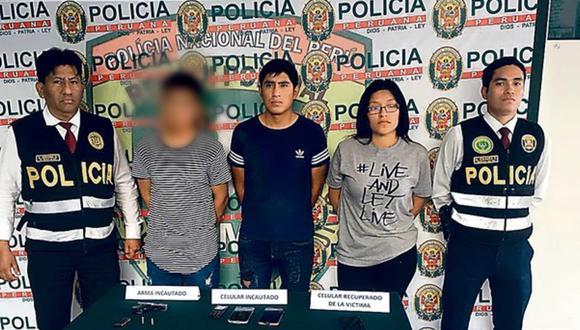 Eduardo Rodríguez, Shirly Rumi y el menor de edad, el día que fueron capturados por agentes de la Depincri de Villa El Salvador. (Foto:PNP)