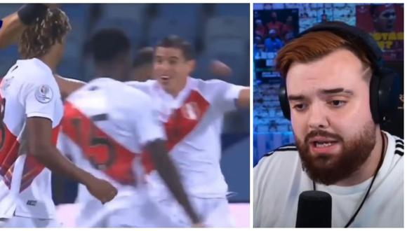 La reacción de Ibai Llanos tras el 2-1 de Perú vs. Colombia. (Captura: Twitch)