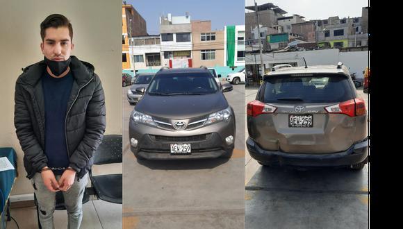 La Policía detuvo a Giancarlo Sánchez cuando manejaba el vehículo del taxista asesinado. (Foto: composición GEC)