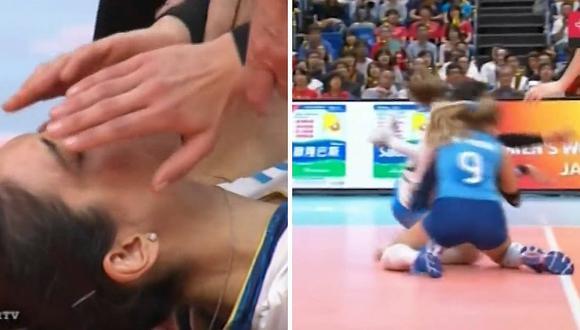 Dos voleibolistas protagonizan impactante choque de cabezas (FOTOS)