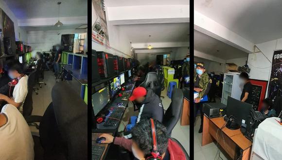 Ayacucho. Jóvenes y menores de edad fueron sorprendidos en cabina de Internet que no guardaban distanciamiento social. (PNP)