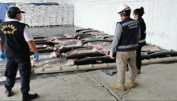 Tumbes: En operativos realizados entre setiembre y octubre, Produce incautó más de 22 toneladas de carne de tiburón de origen ilegal; así como unas 600 kilos de aletas de esta especie marina. (Foto Archivo GEC)