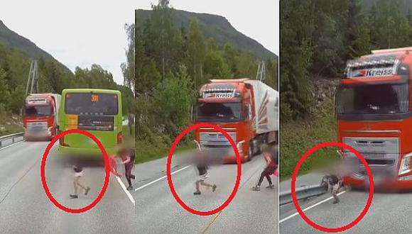 Youtube: impactante vídeo de niño que se salva de ser aplastado por tráiler a toda velocidad