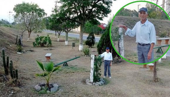 Anciano jubilado de 83 años convierte un basural en un parque