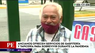 Adultos mayores ofrecen servicios de tapicería y gasfitería para sobrevivir durante la pandemia