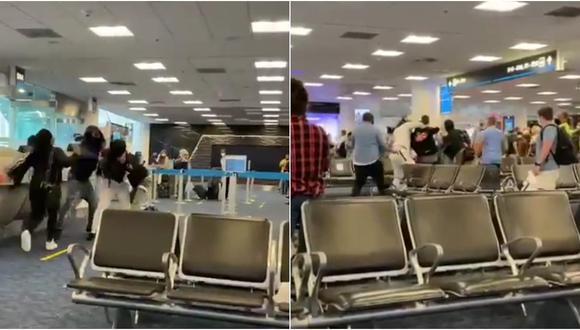 De acuerdo a los testigos, la pelea se originó el área de espera de la puerta D-14, los viajeros se enfrentaron por la ocupación de los asientos de reserva de un vuelo con destino a Chicago. (Foto: Twitter Billy Corben)