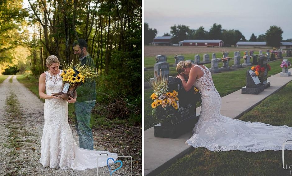 Novia realiza sesión de fotos frente a la tumba de su difunto novio en el día de la boda (FOTOS)