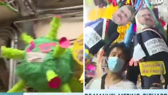 Coronavirus, Manuel Merino y Sheyla Rojas entre las piñatas más vendidas para despedir el 2020. (Foto: Captura América TV).