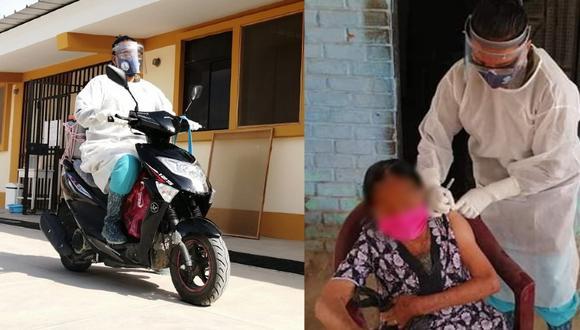 Piura: enfermera se compra moto para recorrer centros pobladores y vacunar ancianos (Foto: Facebook)
