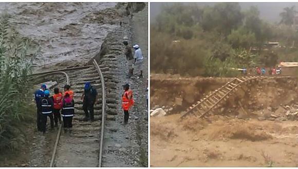 Chaclacayo: río Rímac se traga casi diez metros de rieles del tren (VIDEO)
