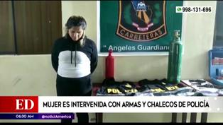 Mujer es intervenida con armas y chalecos de la Policía Nacional