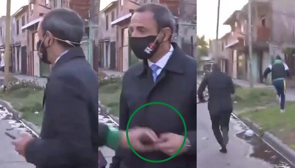 Un video viral muestra el momento exacto en el que un ladrón le arrebata a un periodista su celular cuando estaba a punto de salir en vivo.   Crédito: Telenueve / Captura de TV.