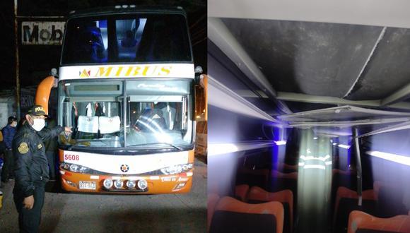 La víctima viajaba en el segundo piso del bus. El impacto de la piedra desprendió el techo. (Foto: GEC)