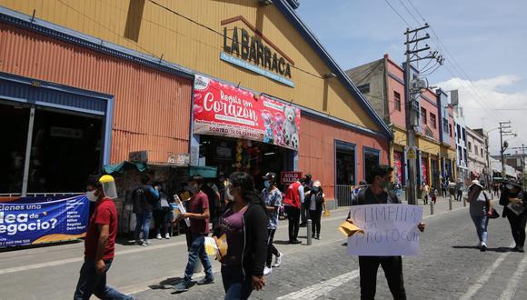 Arequipa: comerciantes realizan movilización en la Plaza de Armas pidiendo el fin de la cuarentena (Foto referencial: GEC)