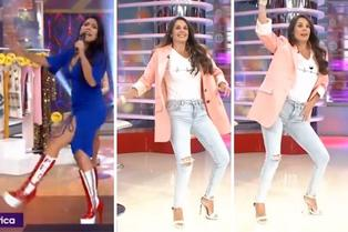 Rebeca Escribens casi se cae al imitar baile de Tula Rodríguez