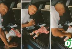"""Edison Flores es captado cambiando el pañal de su bebita en la maletera de su auto: """"papá modelo"""""""
