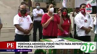 Verónika Mendoza firmó pacto para referéndum por nueva Constitución | VIDEO