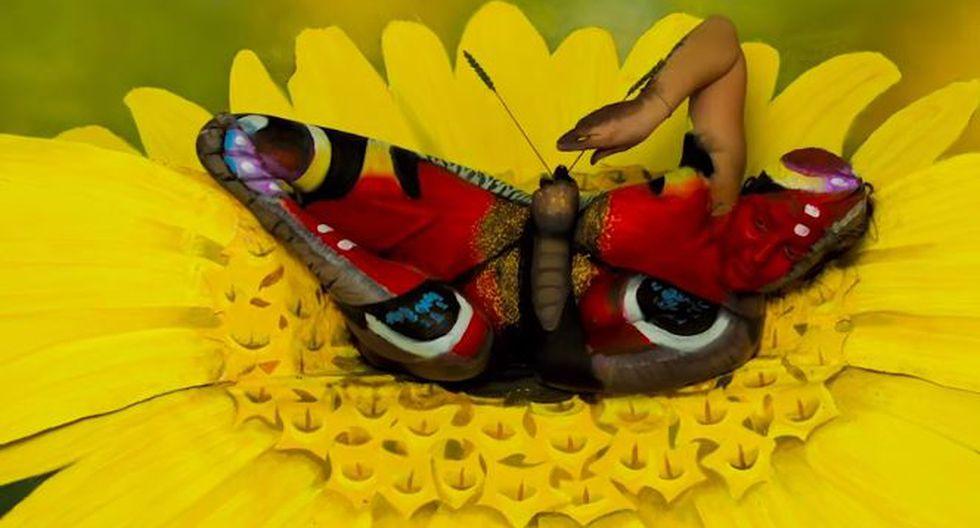 Esta mariposa parece una pintura al óleo, pero la realidad es una mujer. (Videlo)