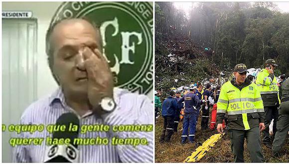 Chapecoense: vicepresidente rompe en llanto durante entrevista (VIDEO)