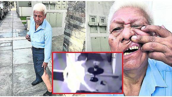 Miraflores: abuelito vigilante recibe brutal golpiza por no dejar ingresar a visitante (VIDEO)