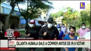 Ollanta Humala sale a correr antes de ir a votar