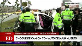 Ventanilla: Choque de camión con auto deja un muerto