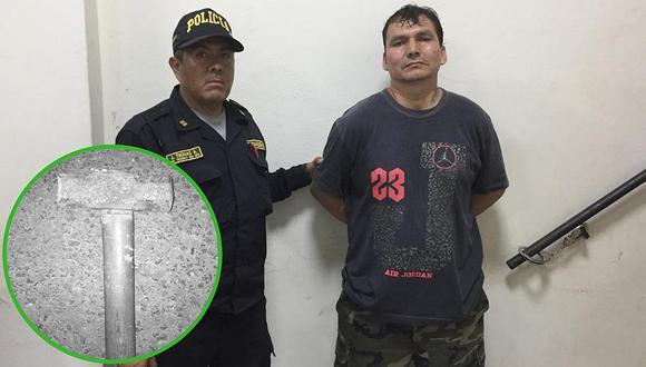 Intervienen a sujeto que intentó asesinar a su esposa con una comba (FOTOS)