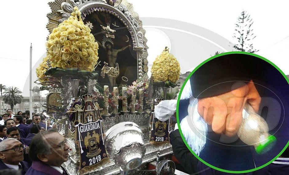 Lanzaron botella de vidrio llena de arena contra la imagen del Señor de Los Milagros (FOTOS)
